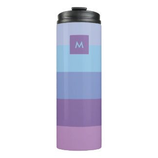 Striped Purple and Blue Palette with Monogram Thermal Tumbler