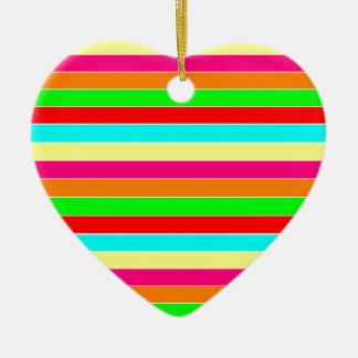 Striped Rainbow Ceramic Heart Decoration