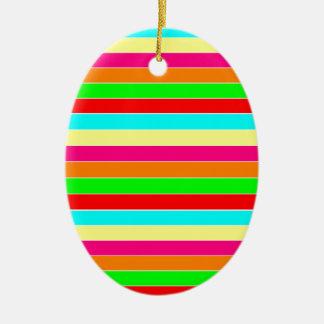 Striped Rainbow Ceramic Oval Decoration