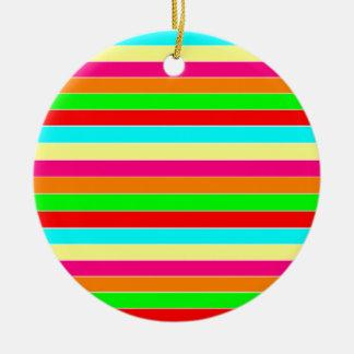 Striped Rainbow Round Ceramic Decoration