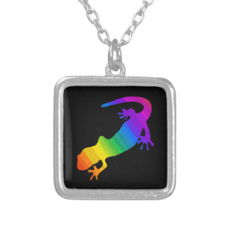 Striped Rainbow Salamander Silver Plated Necklace