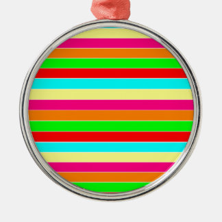 Striped Rainbow Silver-Colored Round Decoration