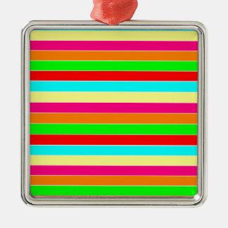 Striped Rainbow Silver-Colored Square Decoration