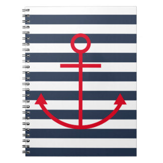 Striped Red Anchor Notebook