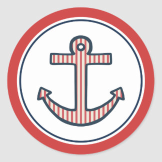 Striped Red Anchor Stickers