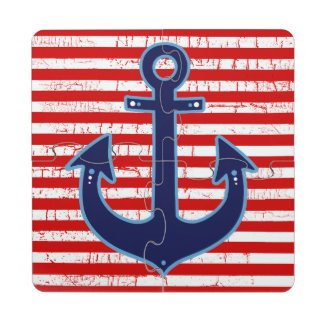 striped red blue-anchor puzzle coaster