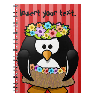 Striped red notepad with penguin spiral notebook