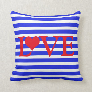 Striped Red White & Blue Love with Heart Cushion