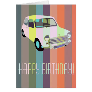 Striped Retro Car Birthday Greetings Card