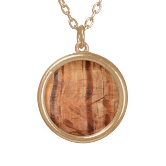 Striped Rock of Double Arch Alcove II Zion Park Gold Plated Necklace