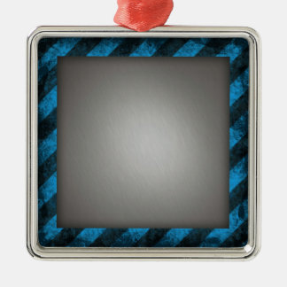 Striped Silver Brushed Aluminum Silver-Colored Square Decoration