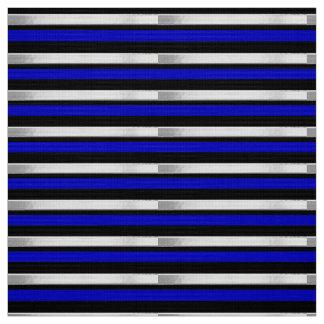 Striped Silver Royal Blue and Black Custom Fabric