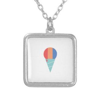 Striped Sno Cone Square Pendant Necklace