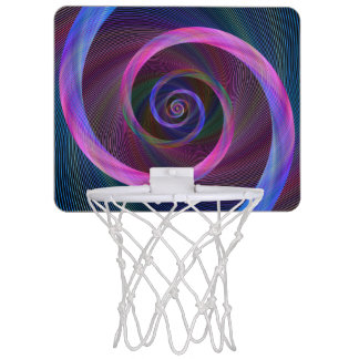 Striped spiral mini basketball hoop