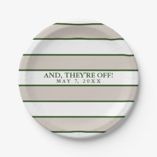 Striped Taupe/Hunter Green Personalized Paper Plate