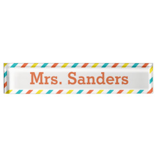 Striped Teacher Nameplate