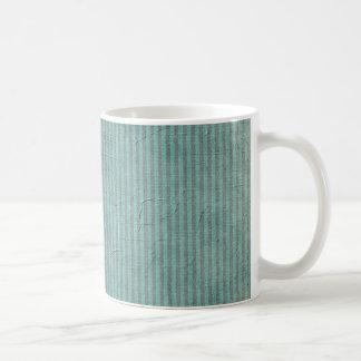 Striped Teal Grunge Pattern Mug