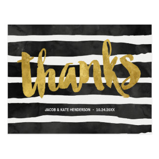 Striped Thanks | Faux Gold Foil Thank You Postcard