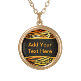Striped Tiger Fur Print Pattern Personalized Round Pendant Necklace