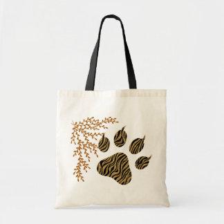 Striped Tiger Paws Tote Bag