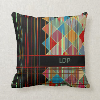 Striped Triangle Shapes with Initials on Black Throw Cushion