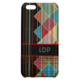 Striped Triangle Shapes with Initials on Black iPhone 5C Cover