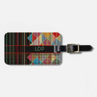 Striped Triangle Shapes with Initials on Black Tags For Bags