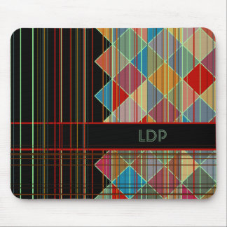 Striped Triangle Shapes with Initials on Black Mouse Pad