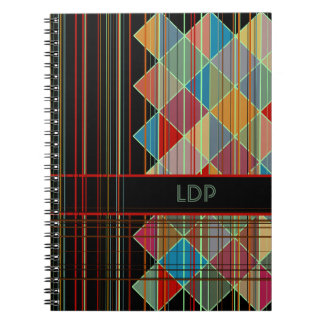 Striped Triangle Shapes with Initials on Black Notebook
