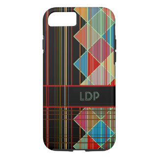 Striped Triangles with Initials iPhone 7 Case