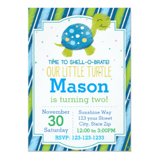 Striped Turtle Birthday Invitation (blue)