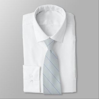 Striped two tone pastel ice blue cream tie