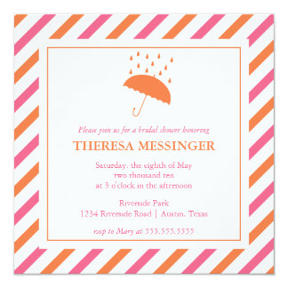 Striped Umbrella Bridal Shower Invitation