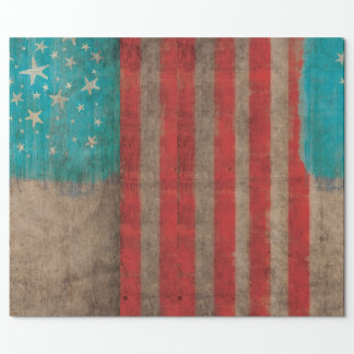 Striped USA Vintage Stars Luxury Wrapping Paper