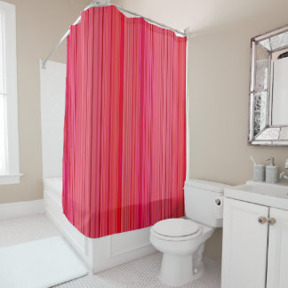 Striped Vertical Stripes Red Shower Curtain