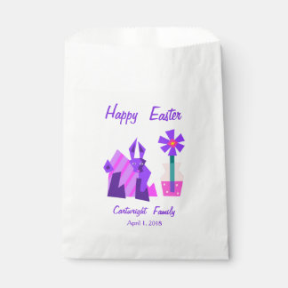Striped Violet Bunny and Flower Favour Bag