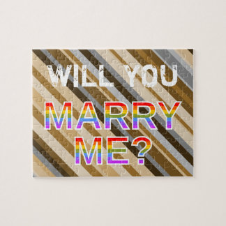 "Striped ""WILL YOU MARRY ME?"" LGB Marriage Proposal Jigsaw Puzzle"