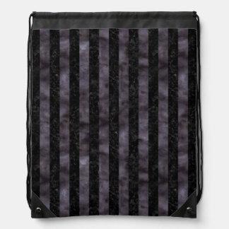 STRIPES1 BLACK MARBLE & BLACK WATERCOLOR DRAWSTRING BAG