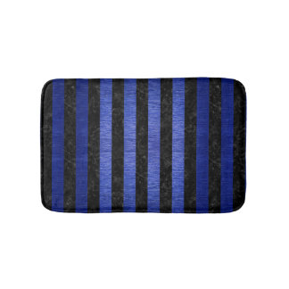 STRIPES1 BLACK MARBLE & BLUE BRUSHED METAL BATH MAT