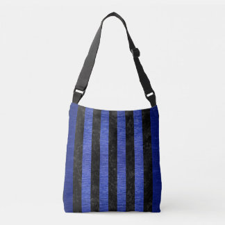STRIPES1 BLACK MARBLE & BLUE BRUSHED METAL CROSSBODY BAG