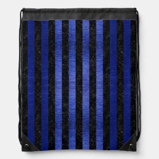 STRIPES1 BLACK MARBLE & BLUE BRUSHED METAL DRAWSTRING BAG
