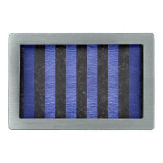 STRIPES1 BLACK MARBLE & BLUE BRUSHED METAL RECTANGULAR BELT BUCKLE