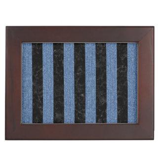 STRIPES1 BLACK MARBLE & BLUE DENIM KEEPSAKE BOX