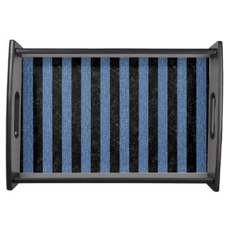 STRIPES1 BLACK MARBLE & BLUE DENIM SERVING TRAY