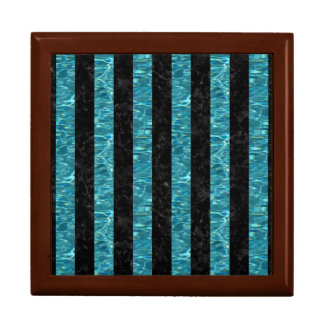 STRIPES1 BLACK MARBLE & BLUE-GREEN WATER GIFT BOX