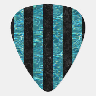 STRIPES1 BLACK MARBLE & BLUE-GREEN WATER PLECTRUM