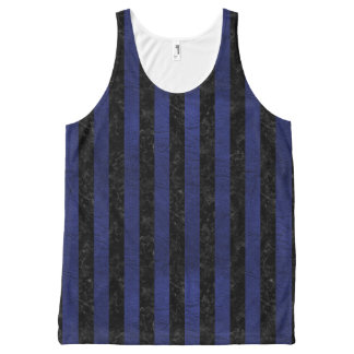 STRIPES1 BLACK MARBLE & BLUE LEATHER All-Over PRINT SINGLET