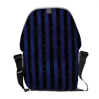 STRIPES1 BLACK MARBLE & BLUE LEATHER COMMUTER BAGS