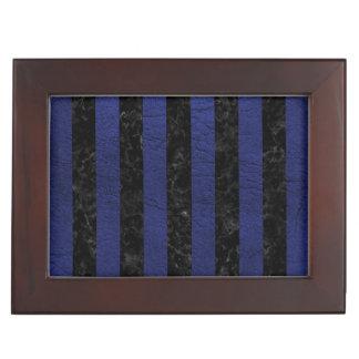 STRIPES1 BLACK MARBLE & BLUE LEATHER KEEPSAKE BOX