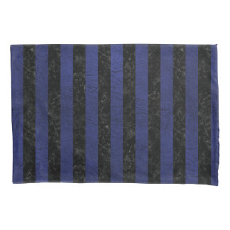 STRIPES1 BLACK MARBLE & BLUE LEATHER PILLOWCASE